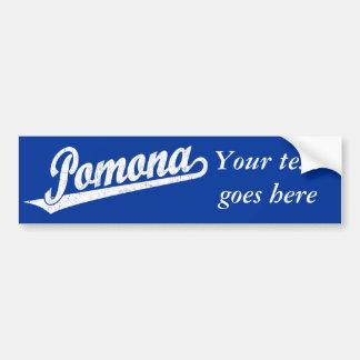 Pomona script logo in white distressed car bumper sticker
