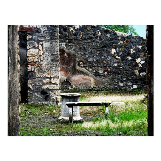 Pompei courtyard marble fountain and bench postcard