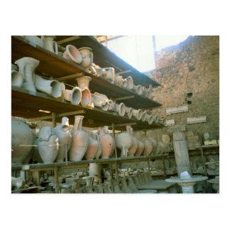 Pompeii, Storage of excavated artefacts Postcard