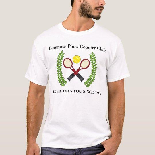Pompous, satirical country club tennis tee shirt
