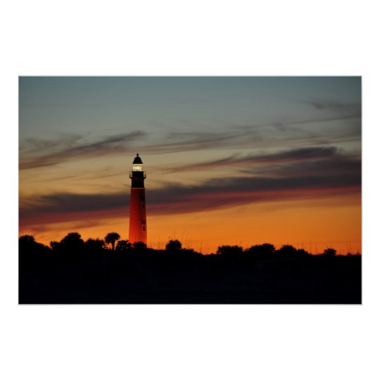 Ponce Inlet Lighthouse Sherbet Orange Sky Poster