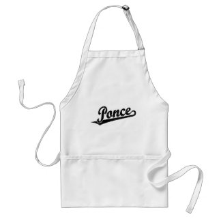 Ponce script logo in black distressed aprons