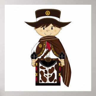 Poncho Cowboy Sheriff Print