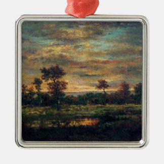 Pond at the Edge of a Wood Silver-Colored Square Decoration