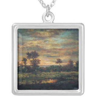 Pond at the Edge of a Wood Silver Plated Necklace