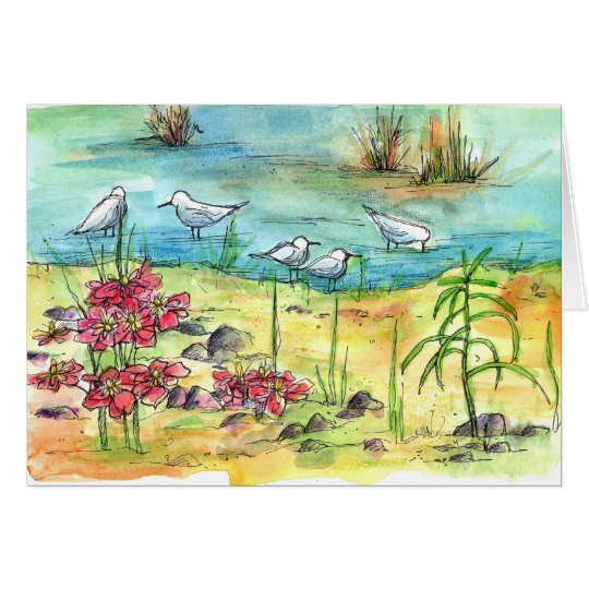 Pond Birds Watercolor Nature Art Blank Card
