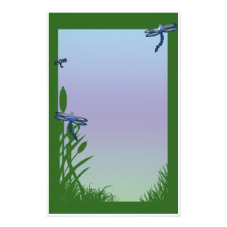 pond dragonflies stationery paper