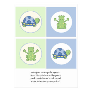 Pond Friends Turtle and Frog Cupcake Toppers Postcard