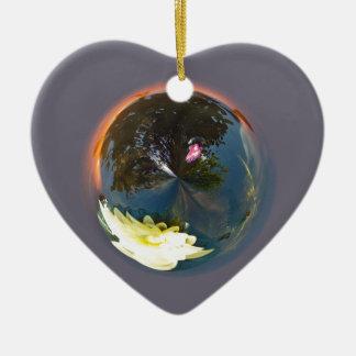 Pond in sphere ceramic heart decoration