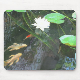pond lilly flower and koi mouse pad