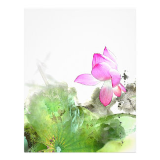 POND LOTUS l Chinese Brush Painting Art 21.5 Cm X 28 Cm Flyer