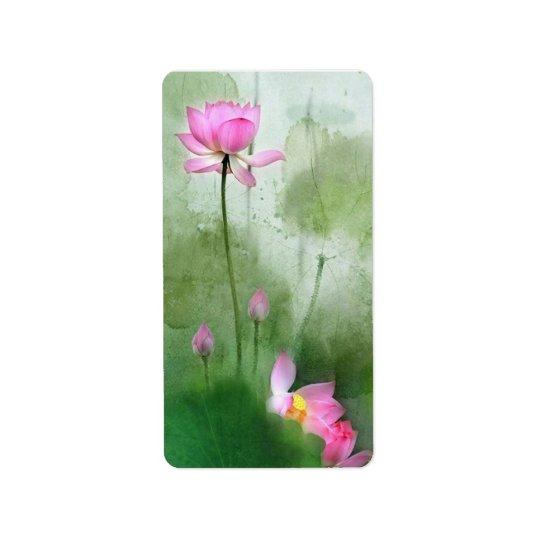 POND LOTUS l Chinese Brush Painting Art Address Label