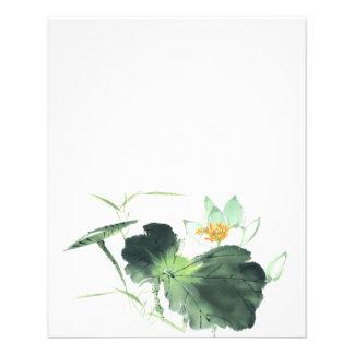POND LOTUS PEACE l Chinese Brush Painting Art 11.5 Cm X 14 Cm Flyer