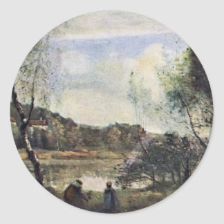 Pond Of Ville D Avray By Corot Jean-Baptiste-Camil Round Stickers