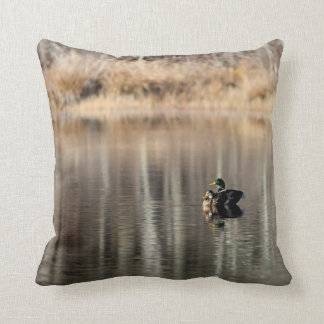 Pond reflections and a pair of mallard ducks cushion