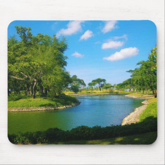 Pond Scene with Blue Skies and Clouds Mouse Pad