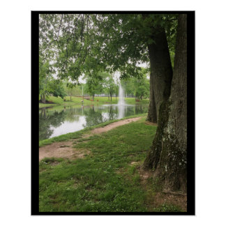 Pond with Fountain Poster