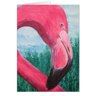 Pondering Pink Flamingo Card