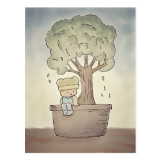 Pondering under Bonsai tree Postcard