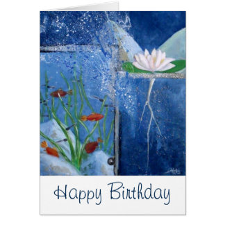 Pondlife Happy Birthday Art Card Pond Lily