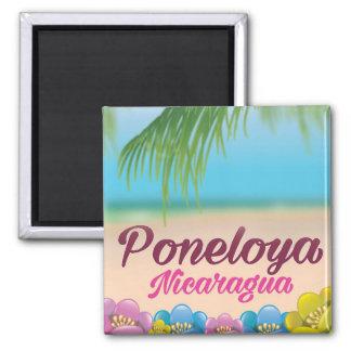 Poneloya nicaragua beach travel poster square magnet