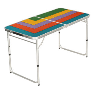 Pong Table with colorful felt background