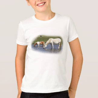 Ponies At Watering Hole kids ringer t-shirt