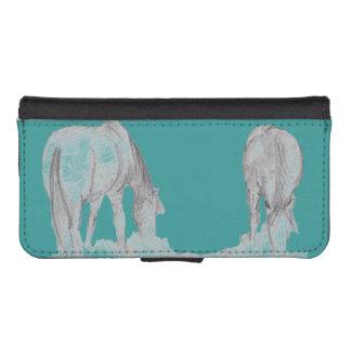ponies grazing phone wallet case