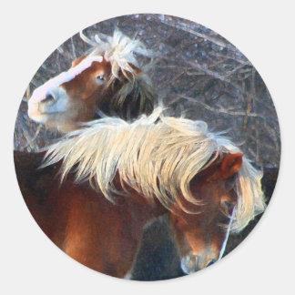 ponies round stickers