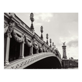 Pont Alexandre III Black and White Paris Postcard