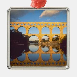 Pont du Gard, Gardon River, Gard, Languedoc, Silver-Colored Square Decoration