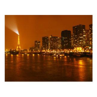 Pont Mirabeau Paris France Night Skyline Panorama Postcard