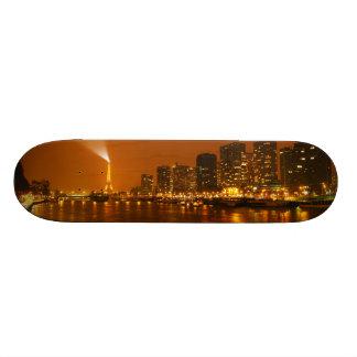 Pont Mirabeau Paris France Night Skyline Panorama Skateboard Deck