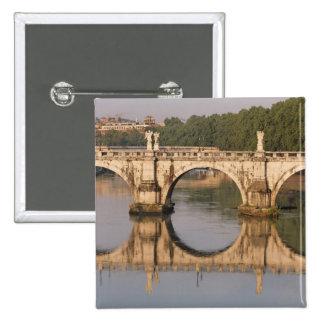 Ponte Sant'Angelo, Tiber River, Rome, Italy 15 Cm Square Badge