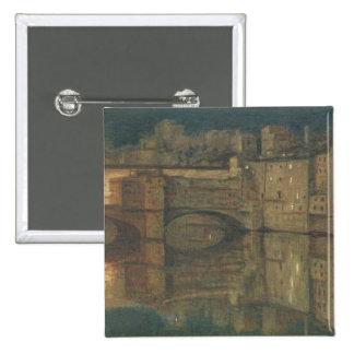 Ponte Vecchio, Florence (oil on canvas) 15 Cm Square Badge