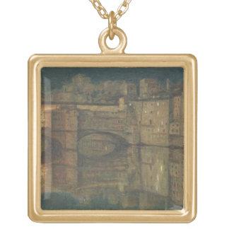 Ponte Vecchio, Florence (oil on canvas) Square Pendant Necklace