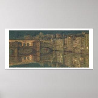 Ponte Vecchio, Florence (oil on canvas) Poster