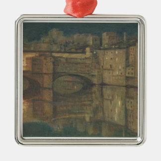 Ponte Vecchio, Florence (oil on canvas) Silver-Colored Square Decoration