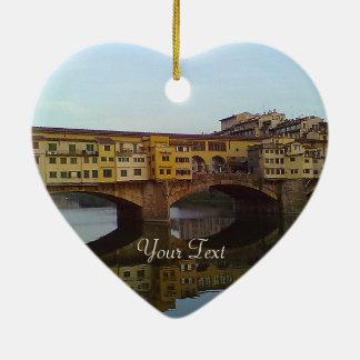 Ponte Vecchio Old Bridge Florence Italy Gift Ceramic Heart Decoration