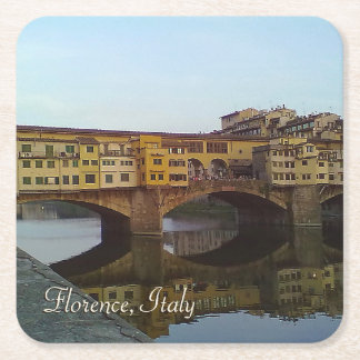 Ponte Vecchio Old Bridge Florence Italy Gift Square Paper Coaster