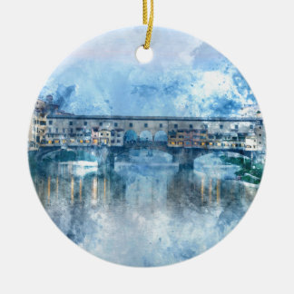 Ponte Vecchio on the river Arno in Florence, Italy Christmas Ornament