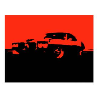 Pontiac Firebird, 1969 - Red on dark postcard
