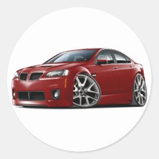 Pontiac G8 GXP Maroon Car Round Sticker
