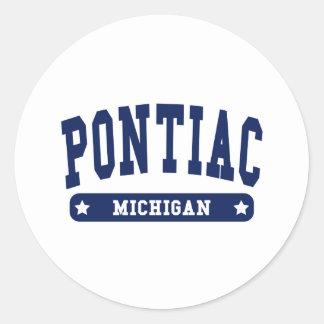 Pontiac Michigan College Style tee shirts Sticker