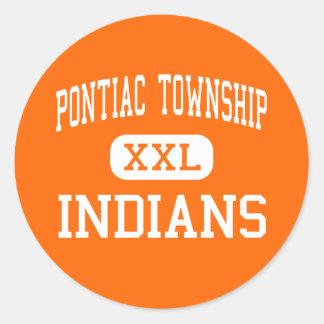 Pontiac Township - Indians - High - Pontiac Round Stickers