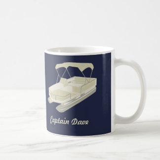 Pontoon Boat Personalised Coffee Mug Navy Blue