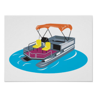 Pontoon Boat Retro Poster
