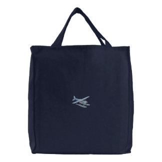 Pontoon Plane Embroidered Tote Bag