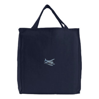 Pontoon Plane Embroidered Tote Bags