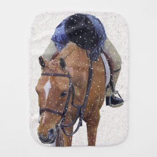 Pony and Girl in the Snow Burp Cloth